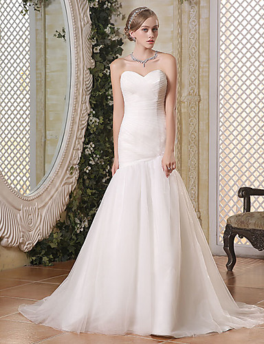 cheap Wedding Dresses-Mermaid / Trumpet Sweetheart Neckline Chapel Train Tulle Made-To-Measure Wedding Dresses with Side-Draped by JUDY&JULIA