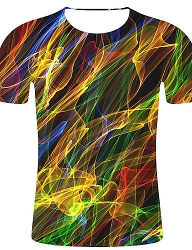 abordables T-shirts & Débardeurs Homme-Tee-shirt Grandes Tailles Homme, 3D / Arc-en-ciel - Coton Imprimé Col Arrondi Arc-en-ciel XXL