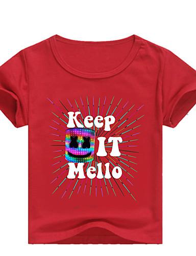 Děti / Toddler Chlapecké Základní Tisk Tisk Krátký rukáv Bavlna / Spandex Košilky Světlá růžová