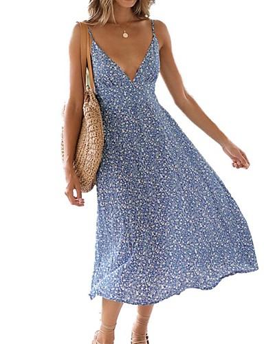 f2d40a904bf91 Women's Vacation Sexy Maxi Chiffon Swing Dress Backless Print Strap Summer Light  Blue L XL XXL