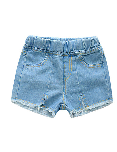 Kids Girls' Basic Solid Colored Tassel Split Cotton Jeans Blue