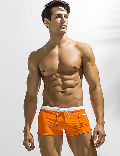 voordelige Herenondergoed & Zwemkleding-Heren EU / VS maat Rood Marineblauw Licht Blauw Slips, shorts en broeken Zwemkleding - Effen XL XXL XXXL Rood
