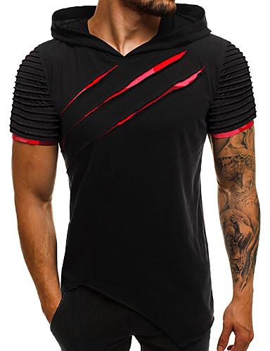 voordelige Uitverkoop-Heren Standaard / Street chic Patchwork T-shirt Katoen Effen Capuchon Slank Regenboog / Korte mouw