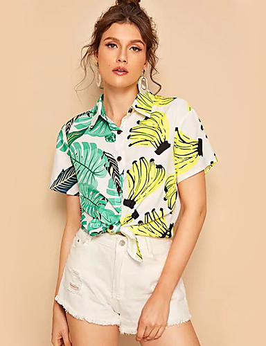 billige Dametopper-Skjortekrage Skjorte Dame - Frukt Regnbue