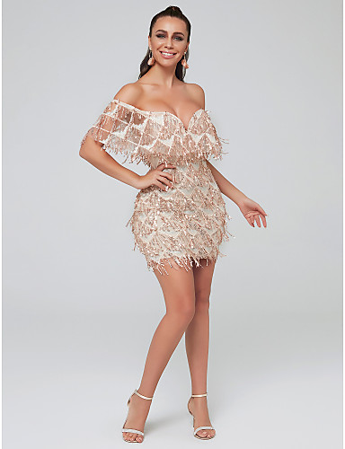 0be79af4c137 Sheath / Column Plunging Neck Short / Mini Tulle / Sequined Sparkle & Shine Cocktail  Party