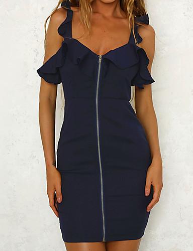 abordables Robes Femme-Femme Chic de Rue Punk & Gothique Mini Moulante Robe - A Volants Mosaïque, Couleur Pleine Bleu Blanc Vin US6 US8 US12 Sans Manches