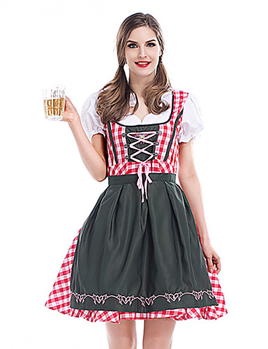 82927e05d Women s Beer Festival Oktoberfest Costume Dirndl Elegant A Line Dress -  Plaid Lace Lace up V Neck Red M L