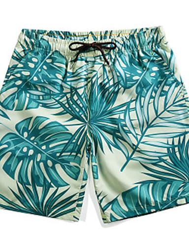 cheap Men's Clothing-Men's Active Shorts Pants - Plants / Tropical / 3D Print Print Green XL XXL XXXL