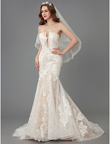 baratos Vestidos de Casamento 2019-Sereia Sem Alças Cauda Capela Renda / Tule Vestidos de casamento feitos à medida com Renda de LAN TING BRIDE® / Transparências