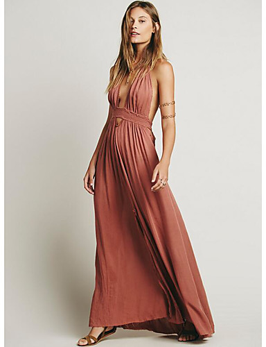 cheap Bridesmaid Dresses-A-Line Halter Neck Floor Length Chiffon Bridesmaid Dress with Split Front by LAN TING Express