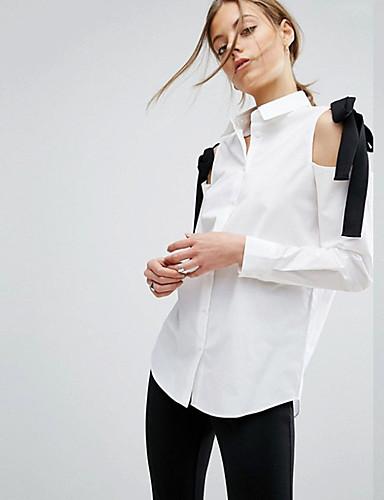 billige Topper til damer-Skjortekrage Bluse Dame - Ensfarget Svart