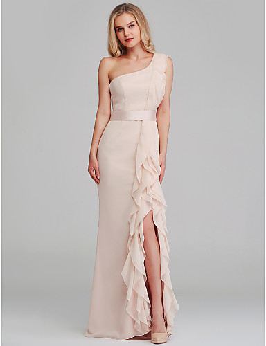 0b89943e3fd5 Sheath / Column One Shoulder Long Length Chiffon Bridesmaid Dress with  Cascading Ruffles by LAN TING BRIDE®