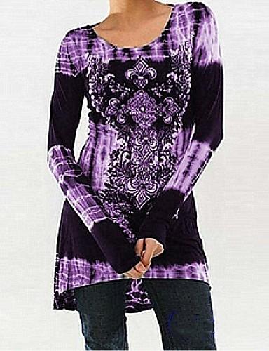 povoljno Ženske majice-Majica s rukavima Žene Cvjetni print / 3D Kolaž / Print Crn