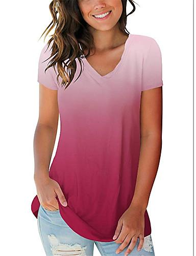 billige Topper til damer-Tynn V-hals Store størrelser T-skjorte Dame - Geometrisk, Lapper / Trykt mønster Rød
