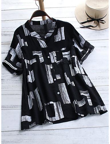 abordables Camisas y Camisetas para Mujer-Mujer Remache / Retazos Camisa Bloques / Cuadrícula / Tie-dye Blanco XXXL