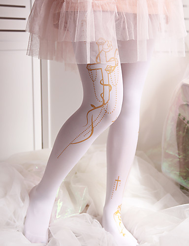 9df96764a76 Maid Costume Cosplay Women s Adults  Princess Lolita Tights Girly Socks    Long Stockings Thigh High Socks White Black Pattern Lolita Accessories    High ...