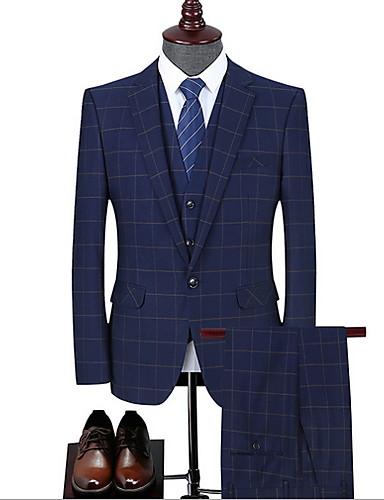 voordelige Herenblazers & kostuums-Heren Pakken, Ruitjes Ingesneden revers Polyester blauw / Slank