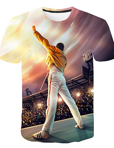 voordelige Heren T-shirts & tanktops-Heren Standaard Print Grote maten - T-shirt 3D / Cartoon / Portret Ronde hals Regenboog XXXXL / Korte mouw