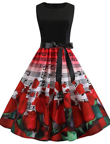 billige Kjoler-Dame Vintage Chinoiserie Swing Havfrue Skater Kjole - Blomstret Geometrisk Ruter, Blondér Lapper Trykt mønster Knelang