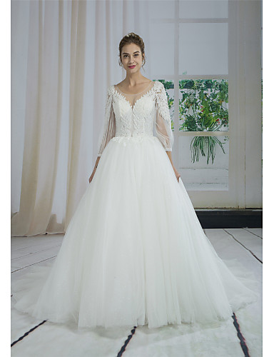 92a2b548fd Ball Gown Bateau Neck Court Train Lace   Tulle Made-To-Measure Wedding  Dresses with Beading   Appliques   Lace by ANGELAG