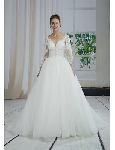 90461d9928 Báli ruha Bateau nyak Udvari uszály Csipke / Tüll Made-to-measure esküvői  ruhák val vel Gyöngydíszítés / Rátétek / Csipke által ANGELAG