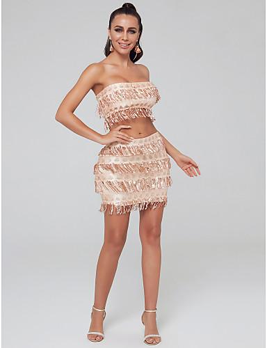 billige Todelte kjoler-Todelt Stroppeløs Kort / mini Paljetter Cocktailfest Kjole med Paljett av TS Couture®