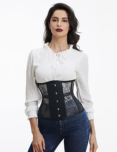 voordelige Lingerie-Polyester Korset Super Sexy Effen Alledaagse kleding Kant