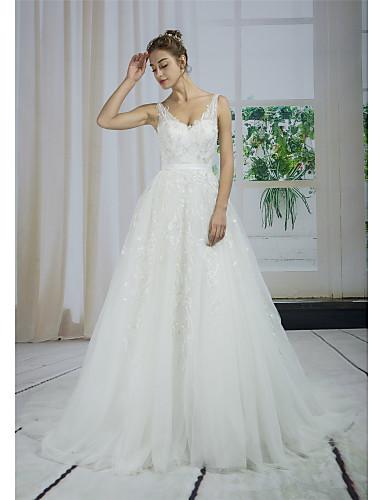 abordables ANGELAG-Corte en A Escote en Pico Corte Encaje / Tul / Lentejuelas Vestidos de novia hechos a medida con Apliques / Encaje por ANGELAG
