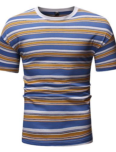 voordelige Heren T-shirts & tanktops-Heren Print T-shirt Gestreept / Kleurenblok Ronde hals Rood