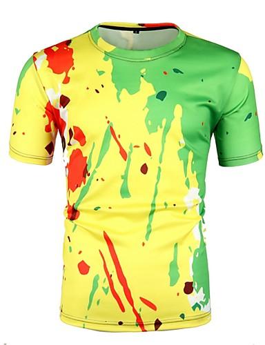 Erkek Yuvarlak Yaka Tişört Zıt Renkli AB / ABD Beden Sarı L / Kısa Kollu