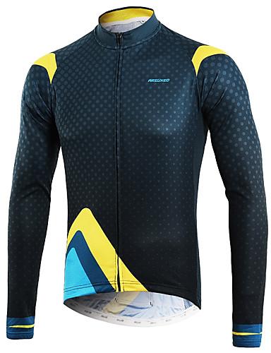 cheap Cycling Clothing-Arsuxeo Men's Long Sleeve Cycling Jersey - Blue+Yellow Bike Top Back Pocket Sweat-wicking Sports Polyster Mountain Bike MTB Road Bike Cycling Clothing Apparel / Micro-elastic / Triathlon