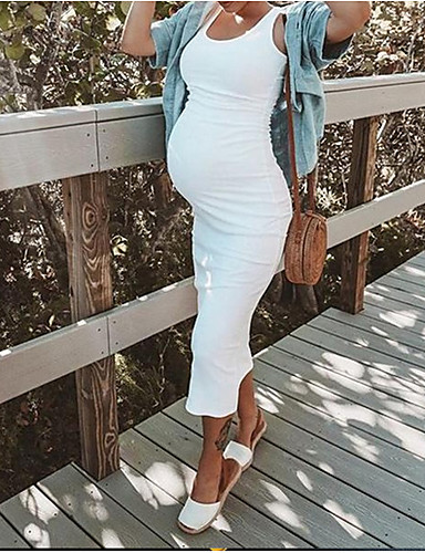 cheap Maternity Dresses-Women's Maternity Street chic Knee-length Shift Dress White Black Blushing Pink L XL XXL