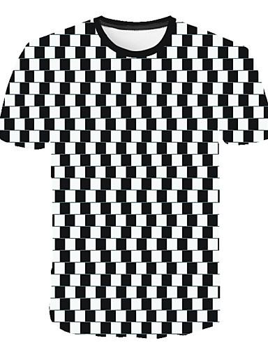 voordelige Heren T-shirts & tanktops-Heren Print Grote maten - T-shirt Geometrisch / 3D / Blokken Ronde hals Wit XXXXL