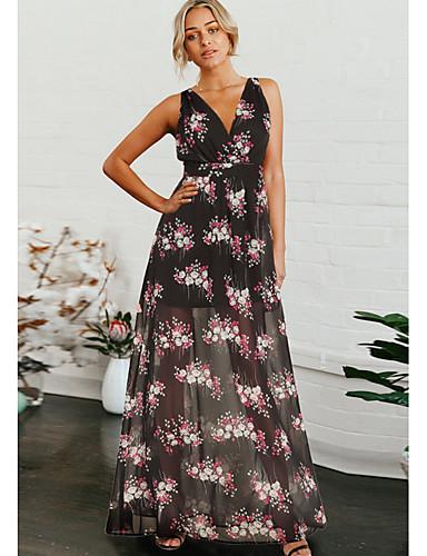 voordelige Maxi-jurken-Dames Standaard Chiffon Jurk - Bloemen, Print Maxi