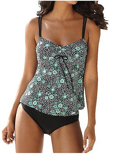 billige Dametopper-Dame Grunnleggende Grønn Lilla Grime Cheeky Bikinikjole Badetøy - Blomstret Åpen rygg Sløyfe L XL XXL Grønn