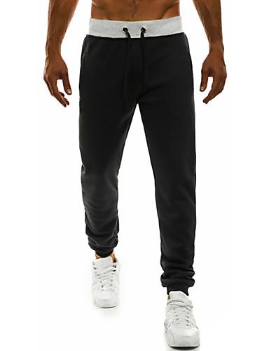 お買い得  メンズ・ボトムス-男性用 ベーシック チノパン パンツ - ソリッド ブラック