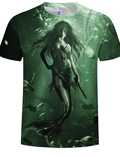 cheap Men's Tees & Tank Tops-Men's Plus Size Cotton T-shirt - Animal / Portrait Print Round Neck Army Green XXXXL