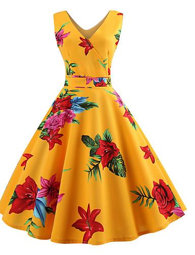 hesapli Vintage Kraliçesi-Kadın's Zarif A Şekilli Elbise - Çiçekli, Desen Diz-boyu