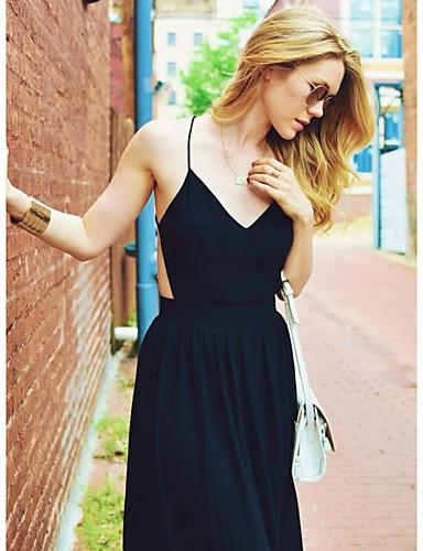 bd4d842a499f dámské maxi štíhlé šaty v krku černá s m l xl