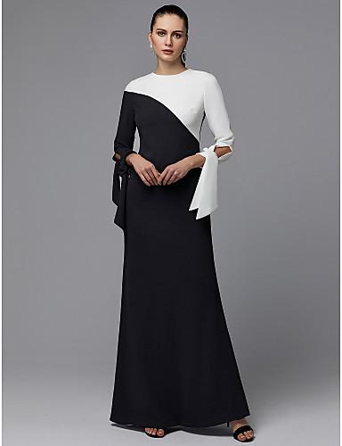 billige Feriekjoler-A-linje Besmykket Gulvlang Chiffon Skoleball Kjole med Sløyfe(r) av TS Couture®