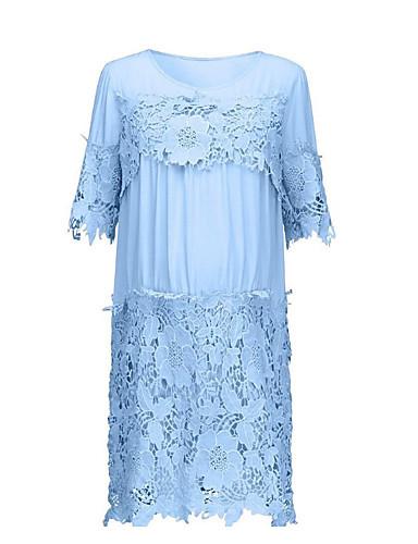 저렴한 드레스-여성용 튜닉 드레스 - 솔리드 컬러 블럭, 레이스 패치 워크 무릎길이