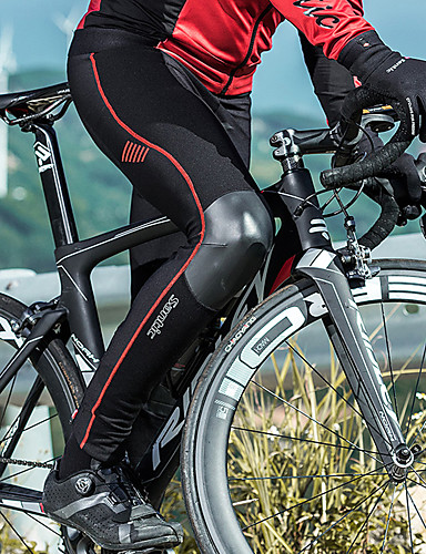 cheap Cycling Clothing-SANTIC Men's Couple's Cycling Tights Bike Pants / Trousers Pants Reflective Thermal / Warm Windproof Sports Stripes Polyester Elastane Winter Black / Red Mountain Bike MTB Road Bike Cycling Clothing