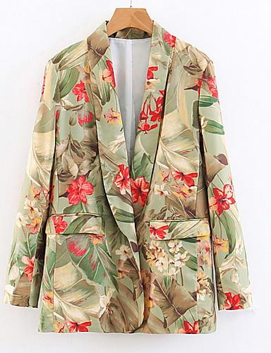 abordables Manteaux & Vestes Femme-Femme Blazer Revers en Pointe Polyester Vert S / M / L