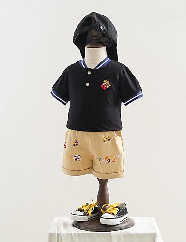 bébé Garçon Actif / Basique Bloc de Couleur / Mosaïque Mosaïque / Brodée Manches Courtes Normal Normal Coton Ensemble de Vêtements Blanc / Bébé