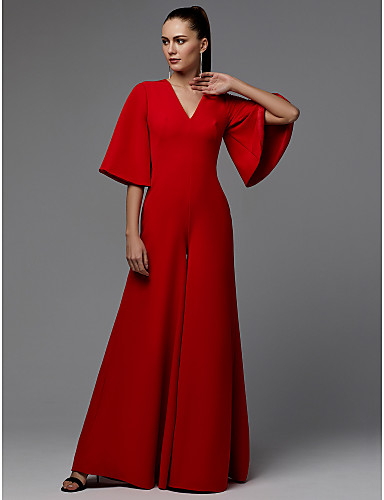 billige Feriekjoler-A-linje V-hals Gulvlang Sateng Formell kveld Kjole med Plissert av TS Couture®