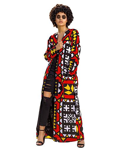 abordables Manteaux & Vestes Femme-Femme Quotidien Basique / Sophistiqué Printemps & Automne Longue Manteau, Géométrique Col en V Manches Longues Polyester Imprimé Arc-en-ciel M / L / XL