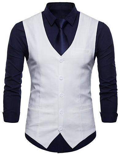 abordables Manteaux & Vests Homme-Homme gilet Col en V Polyester Vert Claire / Vin / Bleu clair XXL / XXXL / XXXXL