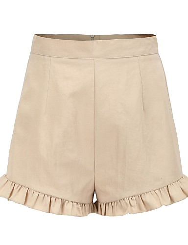 ราคาถูก กางเกงขาสั้น-สำหรับผู้หญิง ซึ่งทำงานอยู่ / โบโฮ เพรียวบาง กางเกงขาสั้น กางเกง - สีพื้น ระบาย เอวสูง สีกากี M L XL