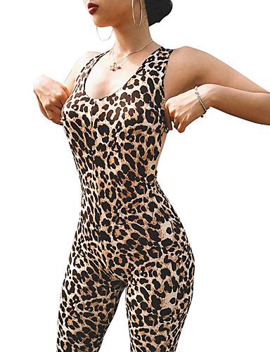 hesapli Fitness, Koşu ve Yoga Kıyafetleri-Kadın's Şortlu Tulum Egzersiz tulumu Spor Dalları Leopar Bodysuit Yoga Fitness Aktif Giyim Hafif Nefes Alabilir Yüksek Elastikiyet / Tek Renk