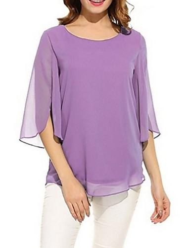 abordables Hauts pour Femme-Tee-shirt Femme, Couleur Pleine Mousseline de Soie Fuchsia / Printemps / Eté / Automne / Hiver